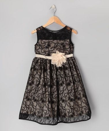 Take a look at this Black & Champagne Lace Dress - Toddler & Girls by Kid's Dream on #zulily today!