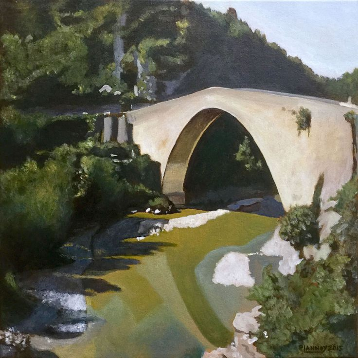 Patrice Lannoy, realistic painting, figurative, landscape, the Roman bridge of Nyons, paintings on canvas