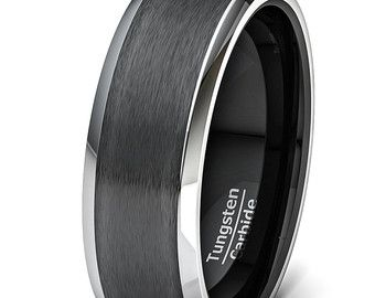 Mens Wedding Band Black Matte Brushed Surface by TungstenOmega