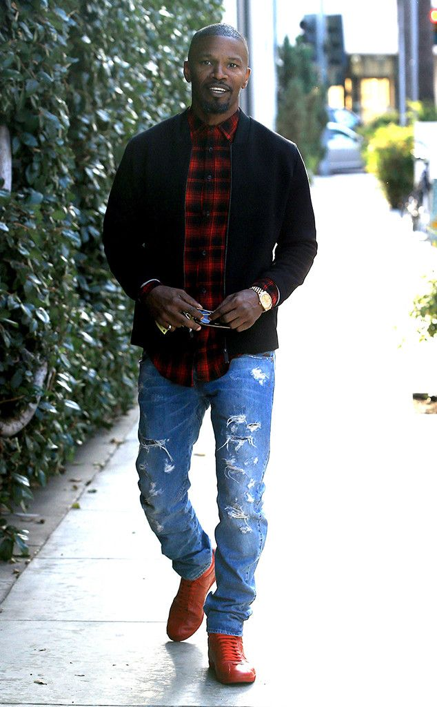 Jamie Foxx from The Big Picture: Today's Hot Pics  Feeling festive! The actor is spotted wearing a red plaid shirt and red shoes while out and about in Beverly Hills.