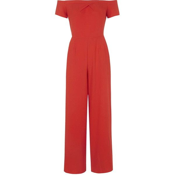 **Cold Shoulder Jumpsuit by Love (1.675 UYU) ❤ liked on Polyvore featuring jumpsuits, orange, red wide leg jumpsuit, tailored jumpsuit, red jump suit, red jumpsuit and orange jump suit