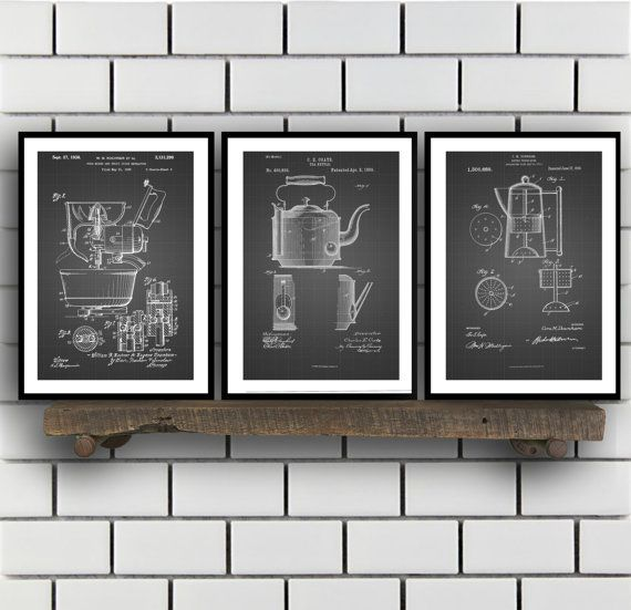 Kitchen Inventions Patent Prints - Set Of 3 - Coffee Pot - Tea Kettle - Kitchen Mixer - Kitchen Appliance - sp22 by STANLEYprintHOUSE  7.50 USD  All of the posters are printed using high quality archival inks, and will be of museum quality. Any of these posters will make a great affordable gift, or tie any room together.  Please choose between different sizes and colors.  These posters are shipped in mailing tubes via USPS Fi ..  https://www.etsy.com/ca/listing/471525126/kitchen-in..