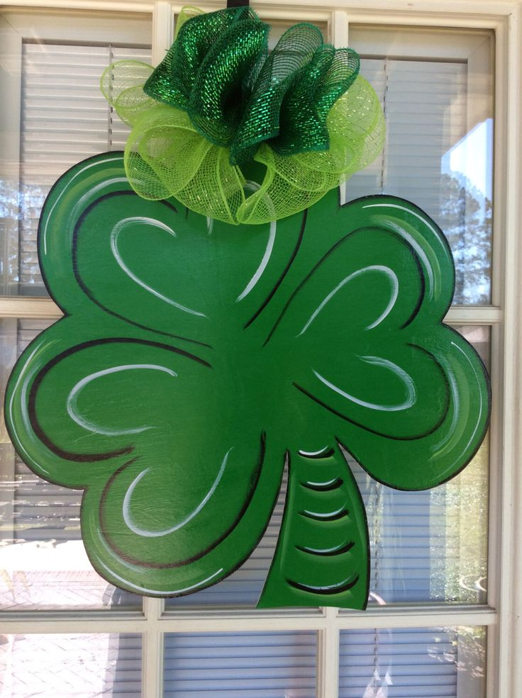 Front door decor, St. Patrick's Day Shamrock decorations, Door hanger, by samthecrafter on Etsy https://www.etsy.com/listing/120794464/front-door-decor-st-patricks-day
