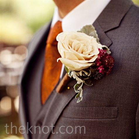 Real Weddings - A Vintage Casual Wedding in Austin, TX - Garden Rose Boutonniere