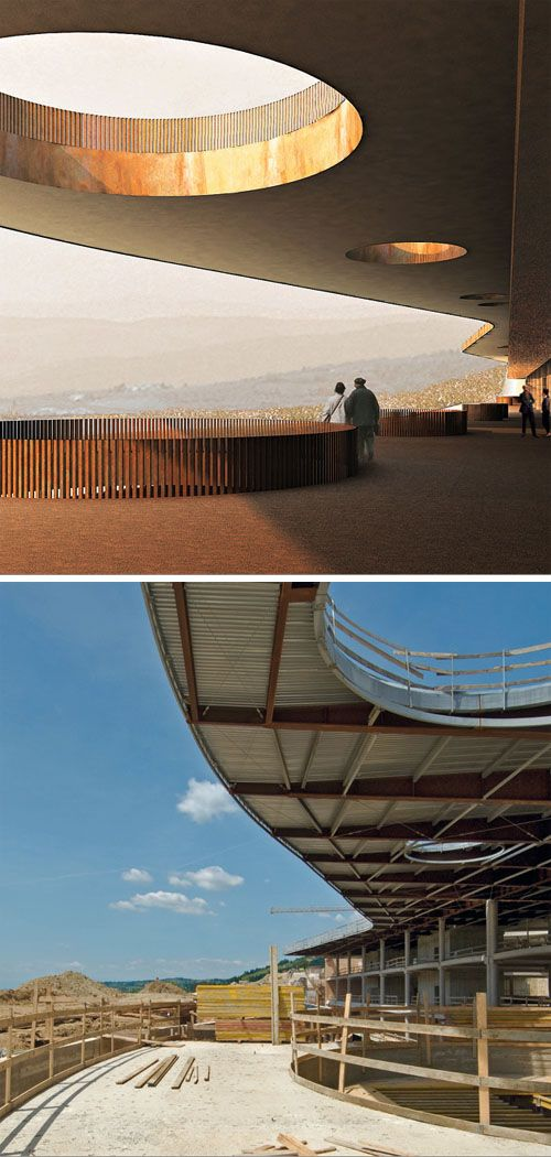 construction detail for the long concrete cantilever for Studio Archea's Marchesi Antinori Winery