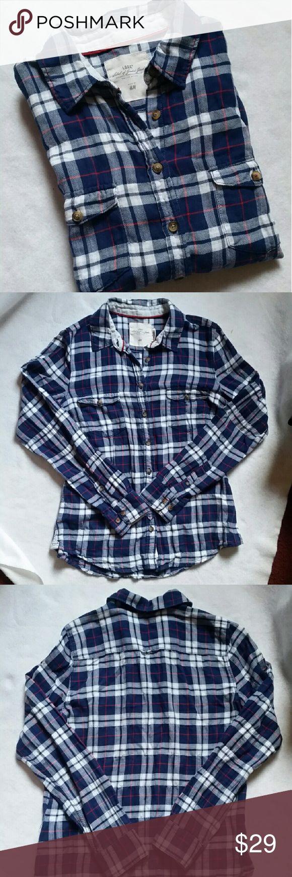 Plaid Button Down Plaid Button down shirt, flanel style by H&M. 99% cotton 1% elastane. H&M Tops Button Down Shirts
