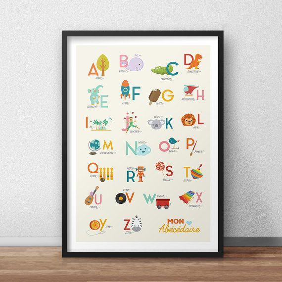 alphabet poster enfant abc ab c daire affiche enfant poster num rique affiche cadeau. Black Bedroom Furniture Sets. Home Design Ideas