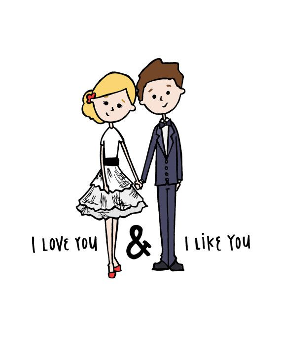 I Love You & I Like You Illustrated Print by spiropaperco on Etsy