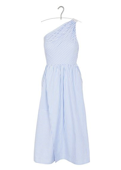 Robe midi asymétrique rayée en coton Bleu by TARA JARMON