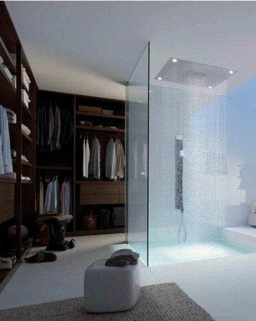 Walk-in closet with shower inside