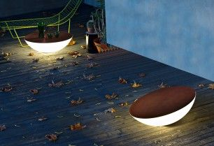 Solar outdoor floor lamp also can be used as a table, or put on a tilt. Just thought these were really cool, not sure if they are appropriate for Chase or not, but still awesome!