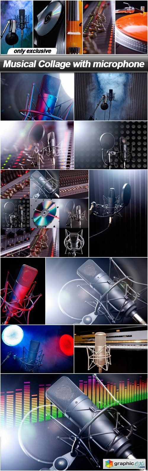 Musical Collage with microphone  12 UHQ JPEG  stock images