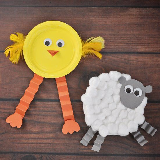 Make funny Easter animals with paper plates and googly eyes!