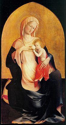 Madonna dell'Umiltà AutoreMasolino o Pesello Dataante 1423 Tecnicatempera su tavola Dimensioni110,5 cm × 62 cm  UbicazioneGalleria degli Uffizi, Firenze
