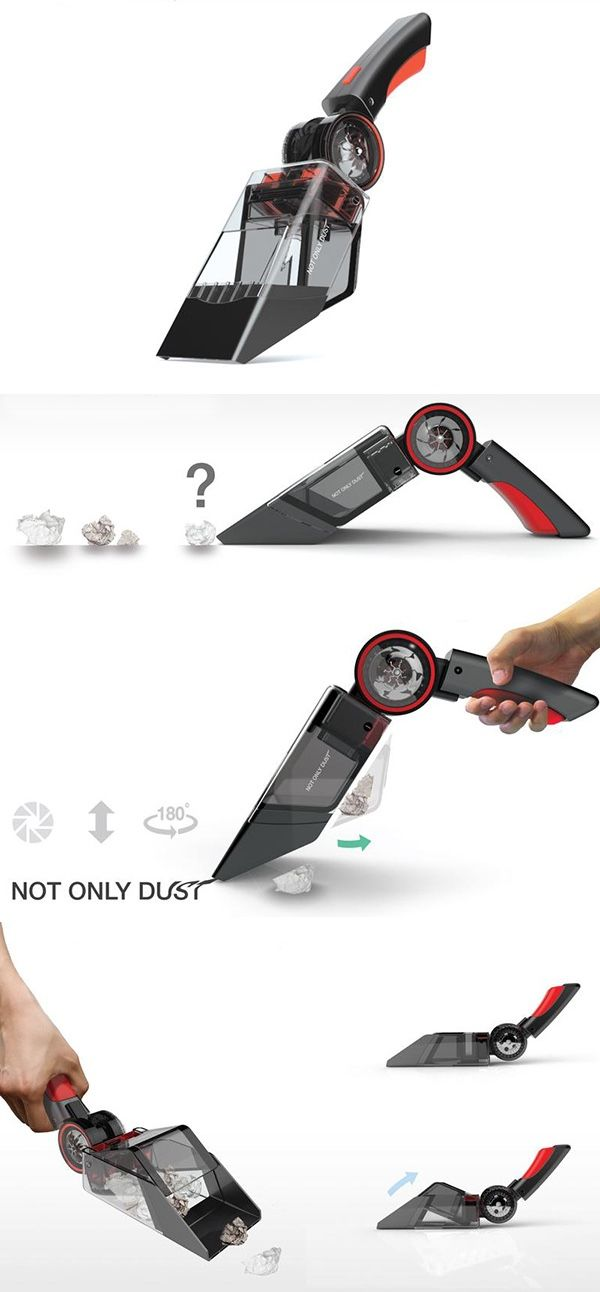 Most mini-vacs get larger debris stuck in the mouth opening, but this features a dual compartment design that collects and stores big and small fragments separately without obstructing air-flow. Better yet, it's reversible and can be used as a dustpan for even larger debris. #vacuum #YankoDesign