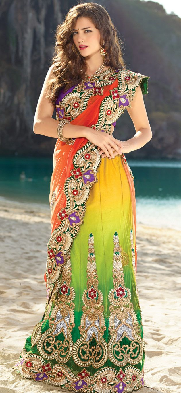 great indian clothing for a sangeet #Indian #wedding wear embroidered #saree | @ $254.62