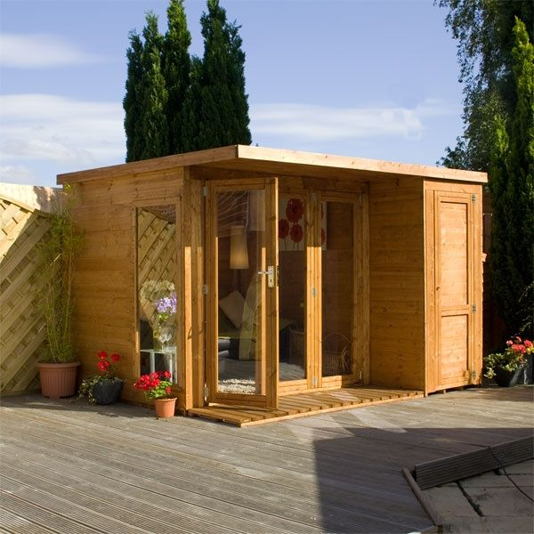 This stunning Walton's summerhouse features a practical storage shed! #summerhouse #gardenroom