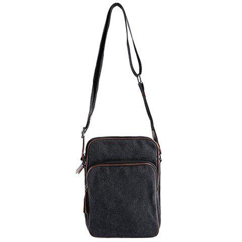 Casual Denim and Zips Design Messenger Bag For Men - BLACK