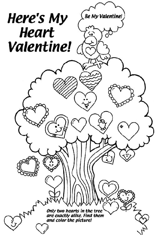 heres my heart valentine coloring page - My Color Book Printable