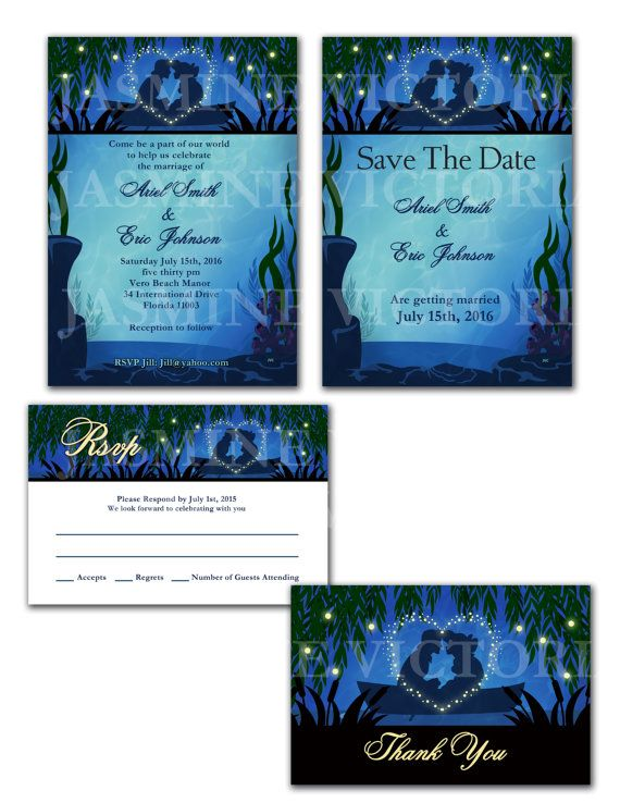 Little Mermaid Wedding Invitation Save The Date or RSVP