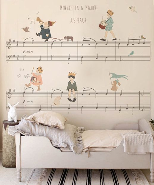 Wall paper that looks amazing in kids room or nursery! This one is for the music loving family! - #wordpub