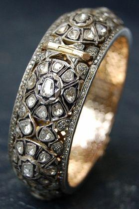 Rona Pfeiffer rose cut & pave diamond bangle- LOVE this!