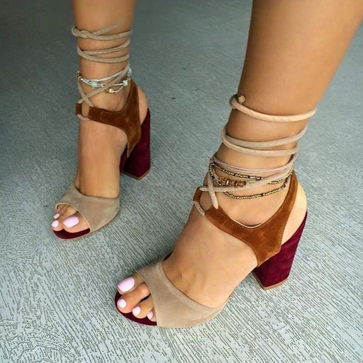 Shoespie Color Block Chunky Heel Sandals
