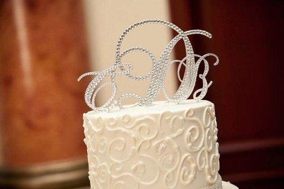 Swarovski Wedding Cake Toppers,  Crystal Monogram Cake Toppers- Wedding glam cake topper initials