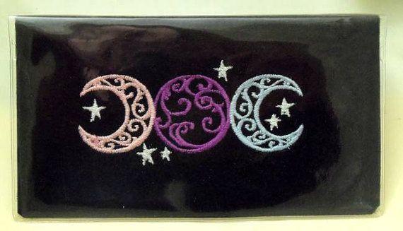 Checkbook Cover, Pagan ,Triplemoon, Wiccan, Pagan, Pagan EmbroideryTriple Moon,Triple Goddess