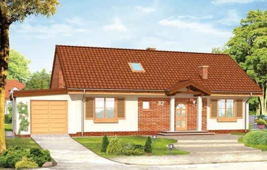 Projekt Słoneczny z poddaszem to wersja domu z podniesionym dachem. Dzięki temu w projekcie przewidziano strych do adaptacji na poddasze użytkowe. Na parterze oprócz salonu połączonego przestrzennie z holem i kuchnią, trzech sypialni, pomieszczenia gospodarczego, zaprojektowano garaż z kotłownią. Nad parterem zaprojektowano strych, który w drugim etapie budowy domu może zostać wykorzystany jako poddasze z dwiema sypialniami i łazienką.