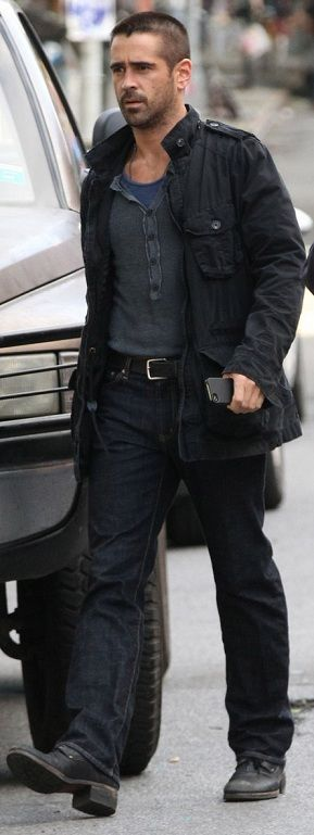 Best Celebrity Street Styles: Colin Farrell looking very manly in Fall Tonal Layers. Follow rickysturn/mens-casual for more Hot Trends