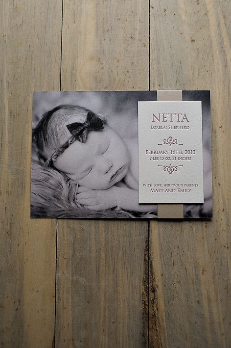 Photo + Letterpress Birth Announcement