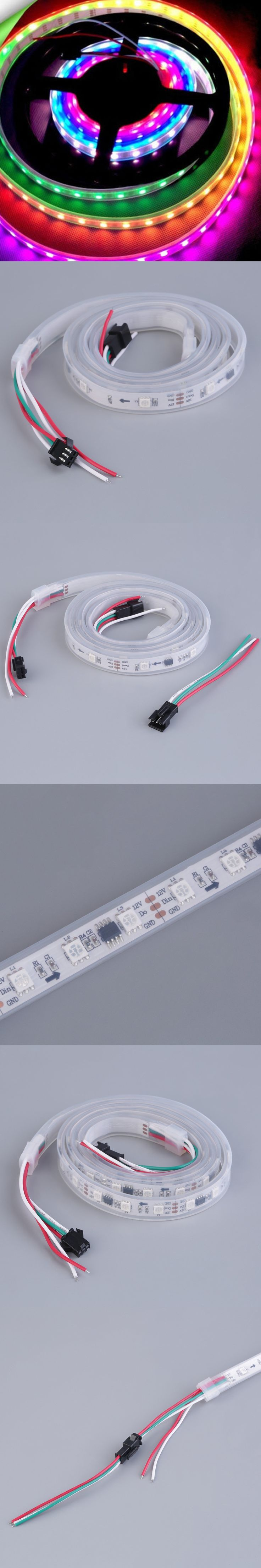 5m rgb cool warm white led strip ribbon tape light smd 5050 waterproof flexible ws2811 tiras