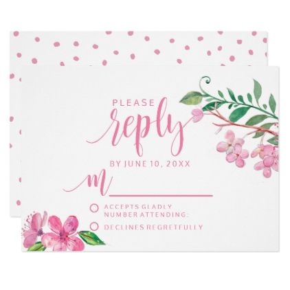 #wedding #responsecards - #Pink Watercolor Love Blossoms Wedding Reply RSVP Card