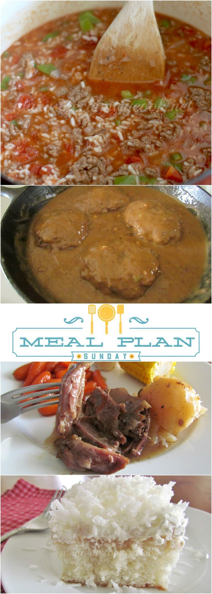 Meal Plan Sunday featured recipes include: Hamburger Steaks and Gravy, Baked Spaghetti, Coconut Poke Cake, Easy Pot Roast, Stuffed Pepper Soup & more!