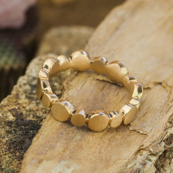 14K Yellow Gold Infinity Circles Ring Fashion by ZEHAVAJEWELRY