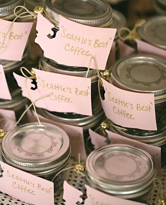 Small Mason Jars Filled With Coffee Beans As Favors Photo By Jenny