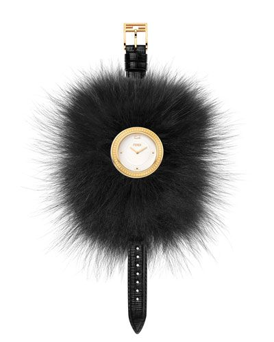 """Fendi Timepieces """"Fendi My Way"""" watch. Round golden PVD case, 36mm (approx. 1.4""""). Removable dyed fox fur (Finland) Glamy. Calf leather strap, 175mm (7""""L). Polished dial with four indexes and logo cro"""