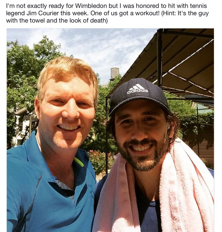 Josh Groban after tennis match with Jim Courier.