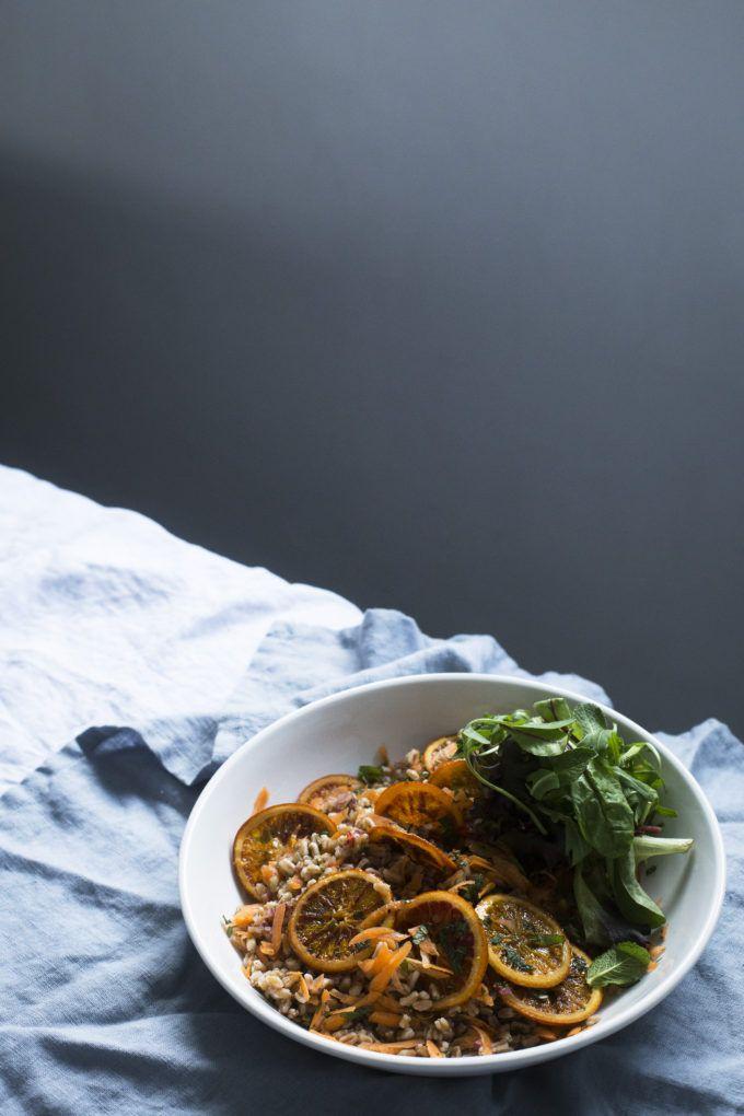 Salada de Espelta com Laranja Sanguínea Caramelada / Spelt and Caramelised Blood Orange Salad - A Mesa da Carolina