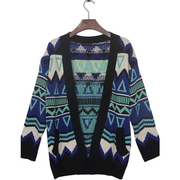 Blue Contrast Black Trim Geometric Tribal Cardigan Sweater and other apparel, accessories and trends. Browse and shop 10 related looks.