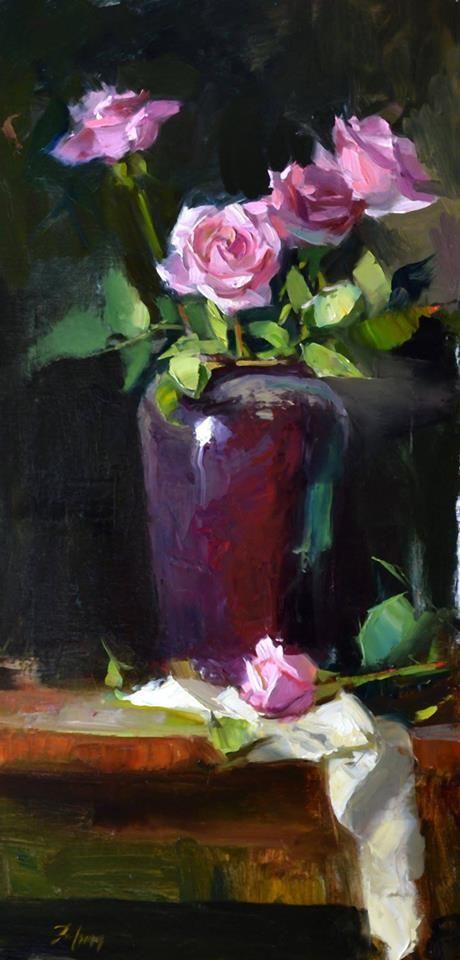 """""""Pink Rose Rhapsody"""" by Kelli Folsom, 24"""" x 12"""", Oil on linen, 2017"""