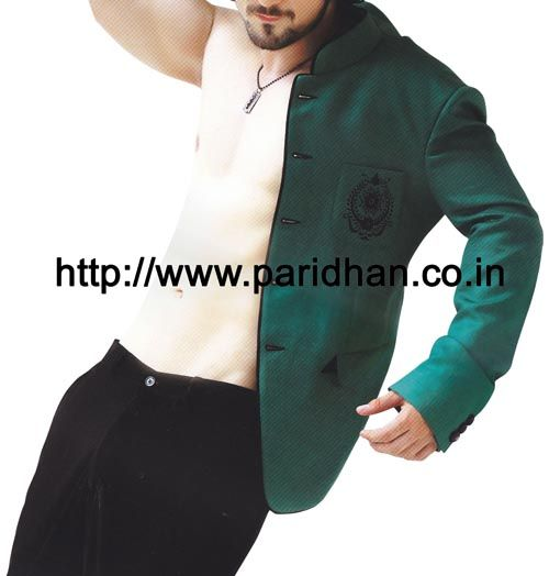 Modern touch party wear mens suit made in teal blue color important fabric. It has bottom as trouser made in black color polyester fabric.