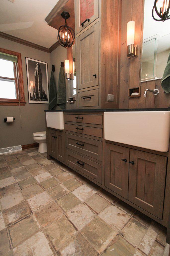 neutral rustic tile bathroom floor  brick tiles bathroom