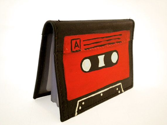 Leather wallet business cards holder  Black and Red  by DropsOfArt, €20.00