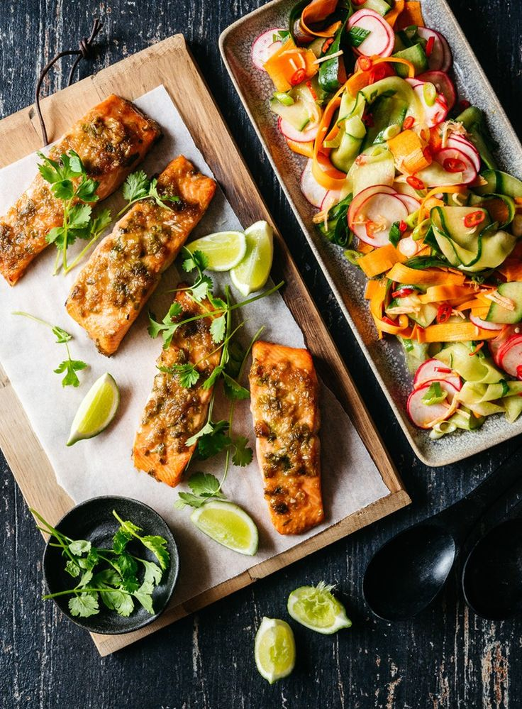 The oily flesh of salmon stands up well to being grilled and loves gutsy flavours. The fresh, lightly pickled vegetable salad is the perfect accompaniment.