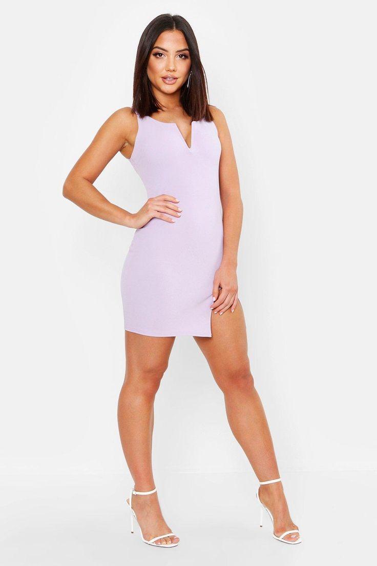 Plunge Neck Bodycon Dress | Boohoo