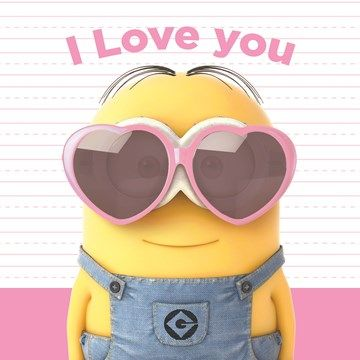 Liefde kaart - Vriendschapskaart - valentijn minion i love you