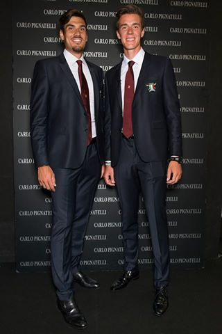Giuseppe Vicino and Matteo Lodo wearing the official uniforms created by Carlo Pignatelli. #carlopignatelli #fashionshow #sfilata  #photocall #guest #celebrity
