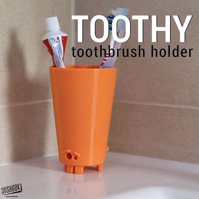 "@3dshook's photo: ""Funky toothbrush holder supported by teeth and a funny face  Check us out at www.3dshook.com #3dprint #3dmodels #3dprinted #3dprinter #3dprinters #3dprinting #makers #makersgonnamake #PrintEverything #tech #technology #design #toothbrush #decor #interiors #bathroom #design #cool #3dshook"""